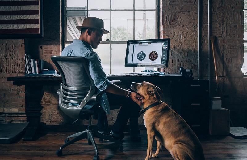 Un homme assis devant son bureau avec un chien à ces côtés